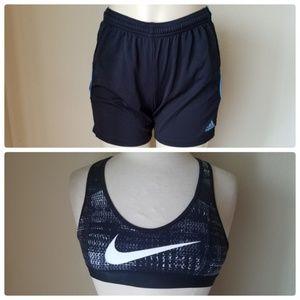 Nike Dri-Fit Sports Bra Adidas Gym Shorts Active